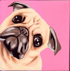 """Pug"" acrylic painting"